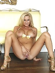 Blake Rose in a sexy gold bikini  shows why she is the September 2010 Treat of the Month